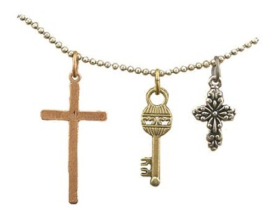 Thin Cross, Key, Small Filigree Cross, Tri-Tone Necklace  -