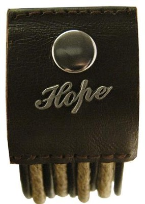 Hope, Hemp and Leather Pewter Word Bracelet  -