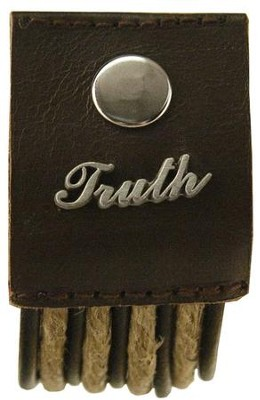 Truth, Hemp and Leather Pewter Word Bracelet  -