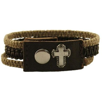 Floral Cross, Leather and Hemp, Pewter Bracelet  -