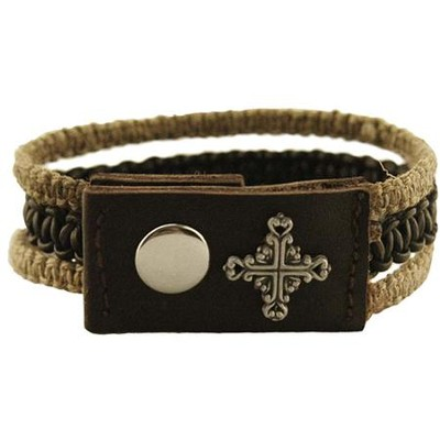 Square Filigree Cross, Leather and Hemp, Pewter Bracelet  -