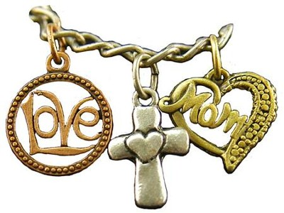 Love, Cross, Mom Heart, Tri-Tone Bracelet  -