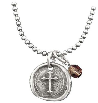 Wax Seal Cross Necklace, with Amethyst Bead  -