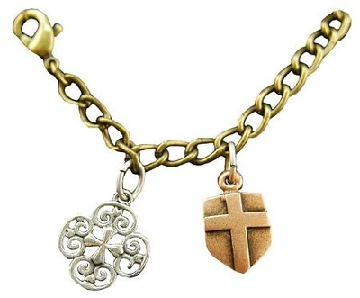 Filigree Cross, Shield Cross, Tri-Tone Bracelet  -
