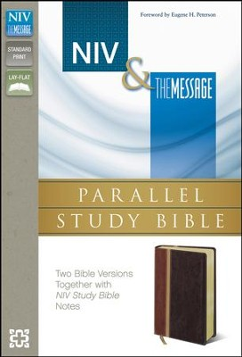 NIV & The Message Parallel Study Bible Personal Size, Italian Duo-Tone, Dark Caramel/Black Cherry  -