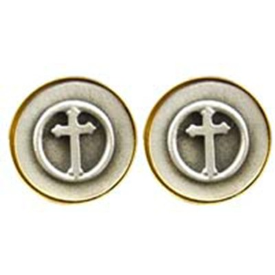 Cuff Links-Pewter Budded Cross  -