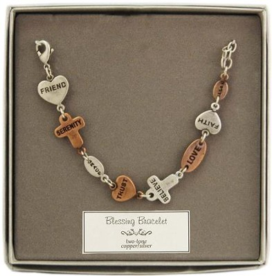 Friend, Serenity, Grace, Trust, Believe, Two-Tone Blessing Bracelet  -