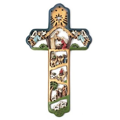 Nativity Wall Cross, Multicolor  -
