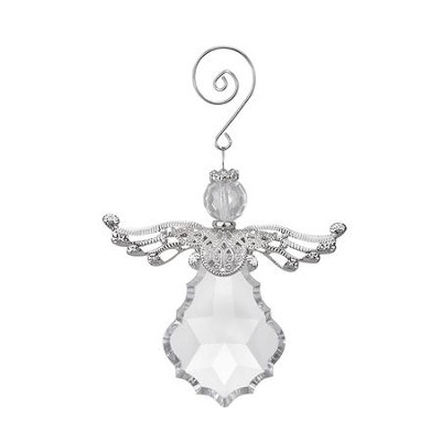 Crystal Angel with Metal Wings Ornament  -