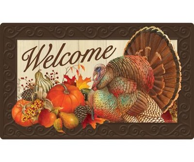 Welcome, Thanksgiving Traditions, Door Mat  -     By: Sandy Clough