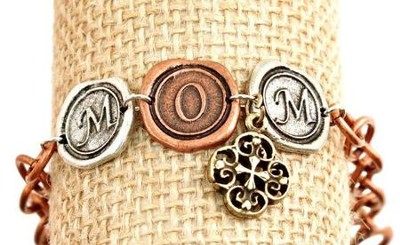 Mom with Cross, Tri-Tone Bracelet  -