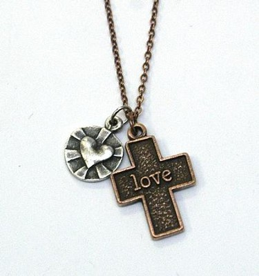 Love with Cross Two-Tone Necklace  -