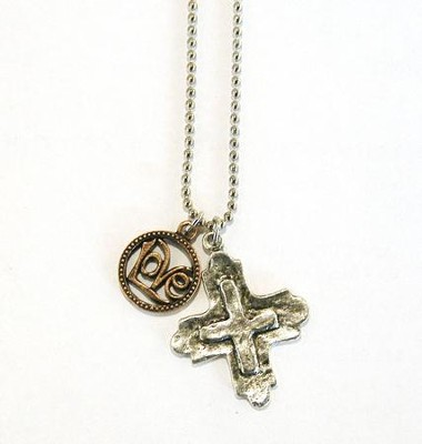 Love with Stamped Cross, Two-Tone Necklace  -