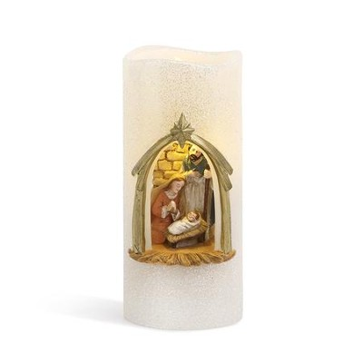 Holy Family Lit LED Candle  -