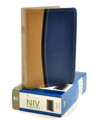 NIV Study Bible, Soft Leather-look, Tan/Blue Thumb-indexed   -