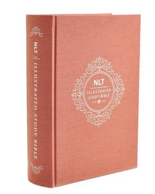 NLT Illustrated Study Bible, Deluxe Blush Rose Linen Harcover with Slipcase  -