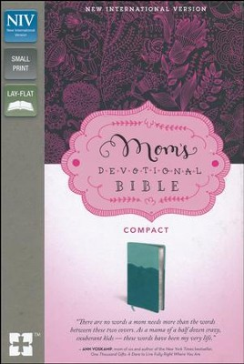 NIV Mom's Devotional Bible Compact, Italian Duo-Tone, Turquoise/Teal  -     By: Elisa Morgan