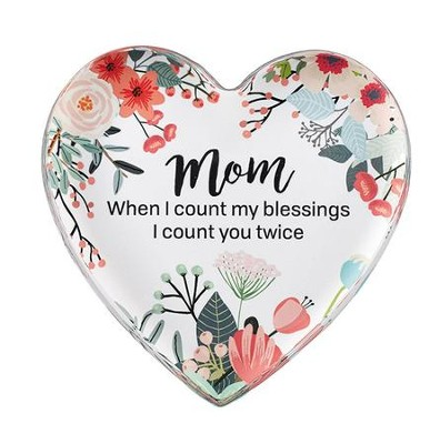 Mom, When I Count My Blessings I Count You Twice Glass Heart Paperweight  -
