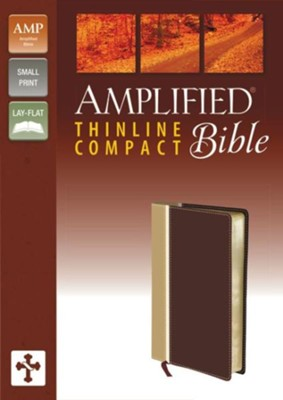 Amplified Thinline Bible Compact, Camel/Burgundy  -