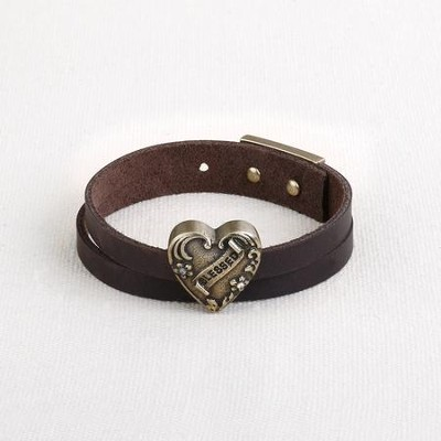 Blessed, Heart, Leather Wrap Bracelet  -