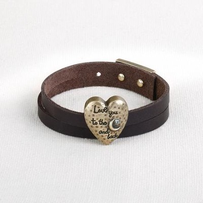 Love You the Moon and Back Leather Wrap Bracelet  -