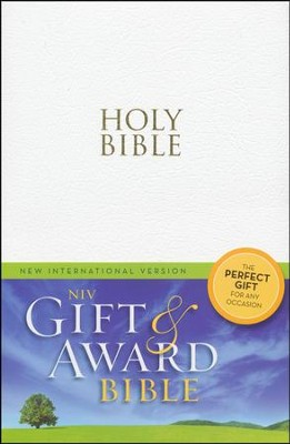 NIV Gift & Award Bible, White, Leather-Look - Slightly Imperfect  -