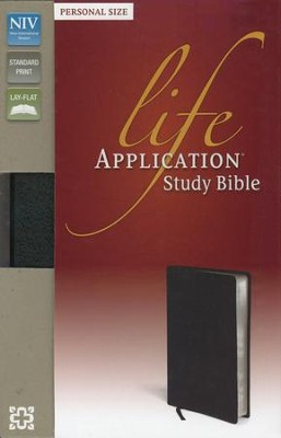 NIV Life Application Study Bible, Personal Size, Bonded Leather, Black  -