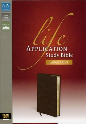 NIV Life Application Study Bible, Large Print, Bonded Leather, Distressed Brown, Thumb Indexed  -