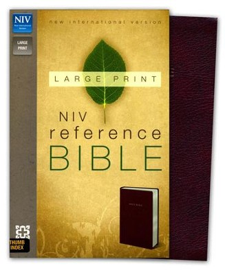 NIV Largeprint, Reference Bible, Burgundy, Thumb-Indexed   -