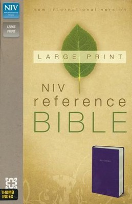 NIV Largeprint, Reference Bible, Navy, Thumb-Indexed   -