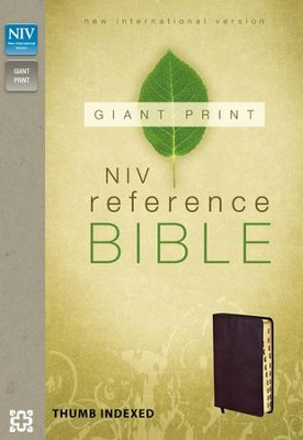 NIV Reference Bible, Giant Print, Burgundy, Thumb-Indexed  , Imitation Leather  -
