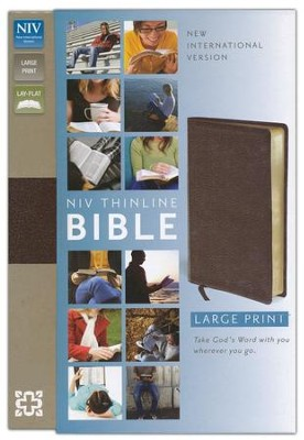 NIV Thinline Large-Print Bible, bonded leather--brown - Slightly Imperfect  -