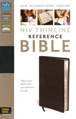 NIV Thinline Reference Bible, Black, Thumb-Indexed   -