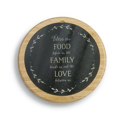 Bless This Food Before Us, the Family Beside Us, and the Love Between Us, Glass Cutting Board and Lazy Susan Set  -