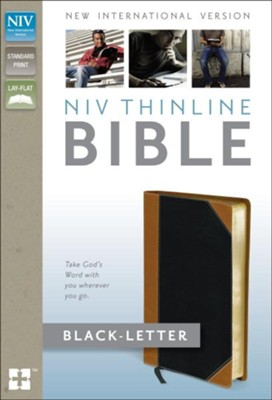 NIV Thinline Bible, Italian Duo-Tone, Tan/Black   -