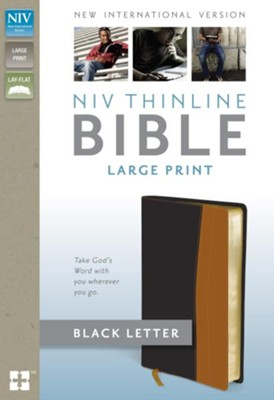 NIV Thinline Bible, Large Print, Italian Duo-Tone, Black/Tan  -