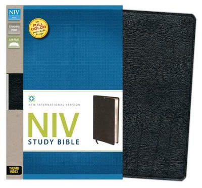 NIV Study Bible, Bonded Leather, Black Thumb-Indexed  - Imperfectly Imprinted Bibles  -