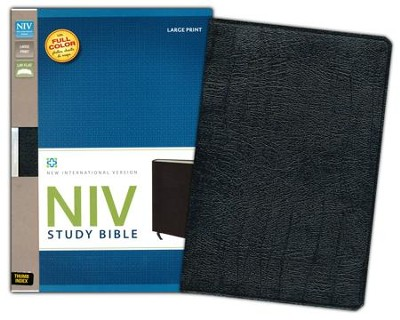 NIV Study Bible, Large Print, Bonded Leather Black, Thumb-Indexed  - Slightly Imperfect  -