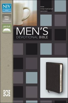 NIV Men's Devotional Bible, Compact, Italian Duo-Tone, Black - Imperfectly Imprinted Bibles  -