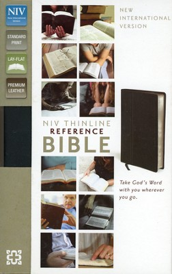NIV Thinline Reference Bible, Premium Leather, Ebony  - Slightly Imperfect  -