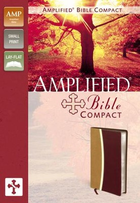 Amplified Bible Compact, Italian Duo-Tone, Camel/Burgundy  -