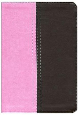 NIV and KJV Side-by-Side Bible, Large Print,  Italian Duo-Tone, Orchid/Chocolate  -