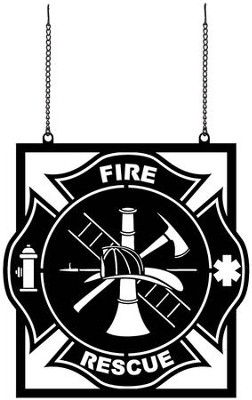 Fire Rescue, Metal Flag  -