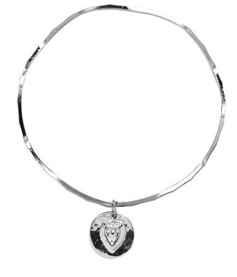 Hammered Cut Out Heart Stackable Bracelet  -