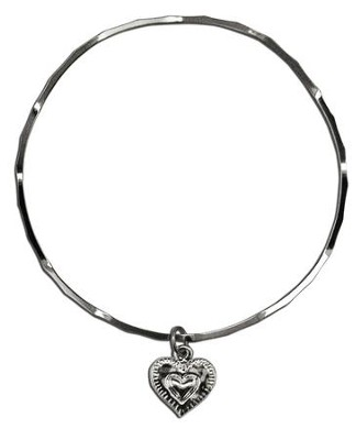 Double Stamped Hearts Stackable Bracelet  -