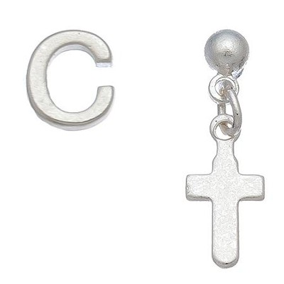 Initial & Cross Stud Earring Set Set, C  -
