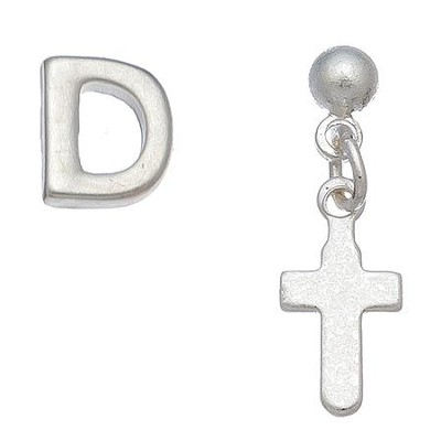 Initial & Cross Stud Earring Set Set, D  -