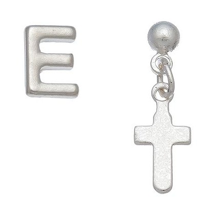 Initial & Cross Stud Earring Set Set, E  -