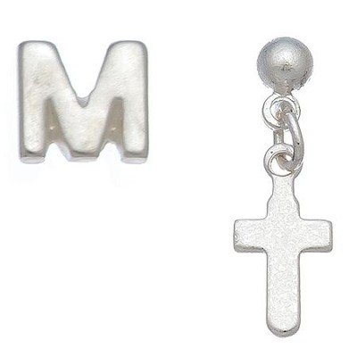 Initial & Cross Stud Earring Set Set, M  -