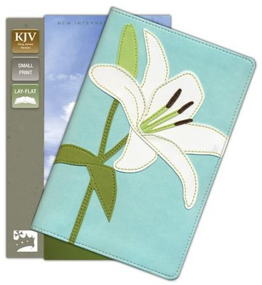 KJV Thinline Bloom Collection Bible, Compact, Italian Duo-Tone, White Lily  -